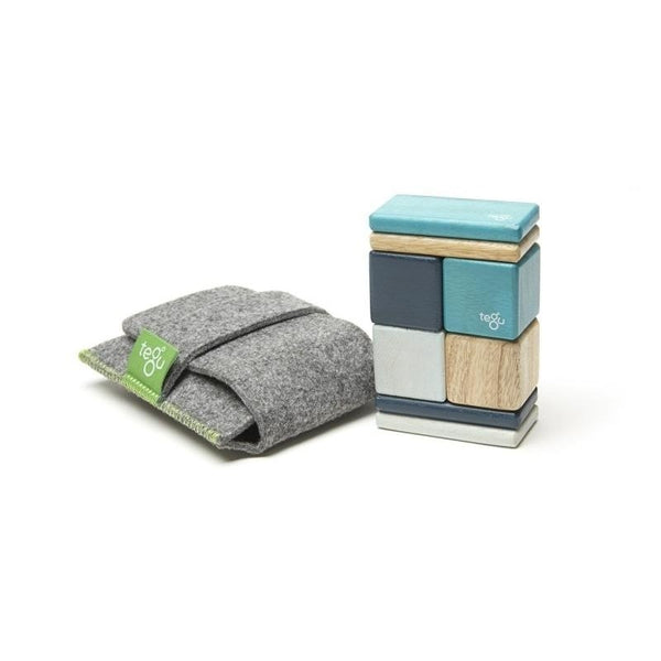 8 Piece Tegu Pocket Pouch Magnetic Wooden Block Set, Blues - toybox.ae