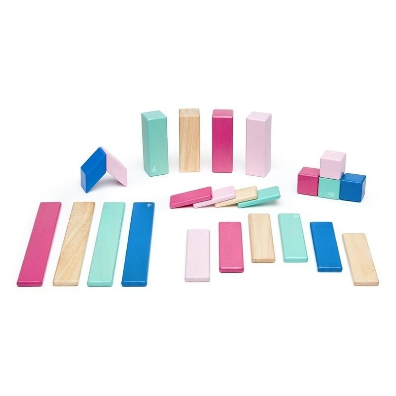 24 Piece Tegu Magnetic Wooden Block Set, Blossom - toybox.ae
