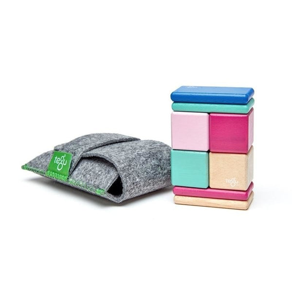 8 Piece Tegu Pocket Pouch Magnetic Wooden Block Set, Blossom - toybox.ae