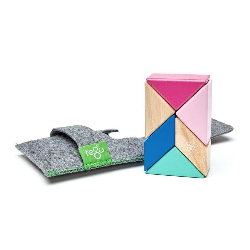 6 Piece Tegu Pocket Pouch Prism Magnetic Wooden Block Set, Blossom