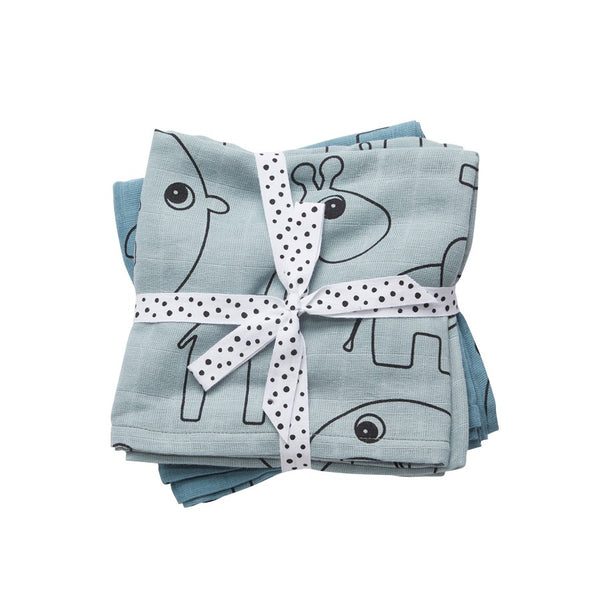 Done by Deer Burp cloth, 2-pack, Contour, blue - toybox.ae