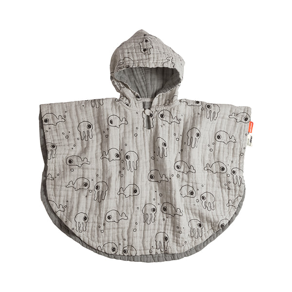 Bath poncho Sea friends Grey