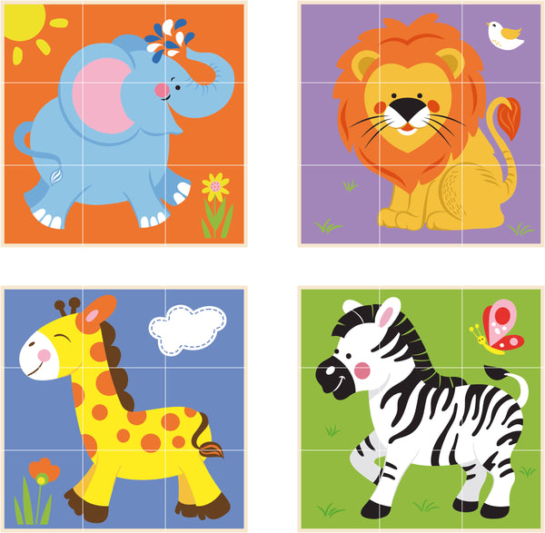 Viga 9pcs Stacking Cube Puzzle - Wild Animals