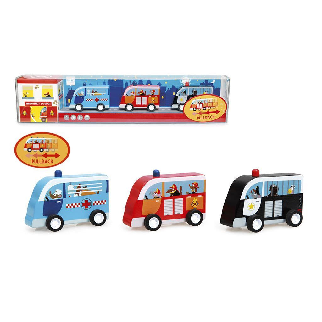 Scratch Set of 3 Pull Back Cars - toybox.ae