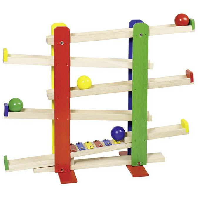 goki Ball track with xylophone with 4 wooden balls - toybox.ae
