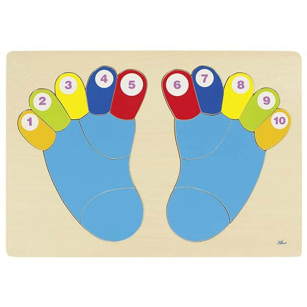 goki wooden Feet with numbers puzzle - toybox.ae