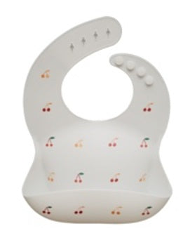 Mushie Silicone Baby Bib Printed Colors - Cherries - toybox.ae