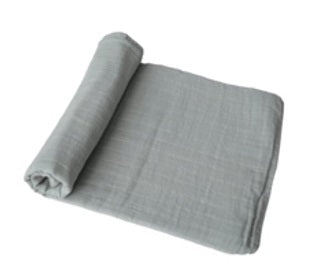 Mushie Swaddle Blanket Organic Cotton  - Belgian Grey