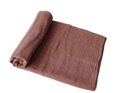Mushie Swaddle Blanket Organic Cotton - Cognac - toybox.ae