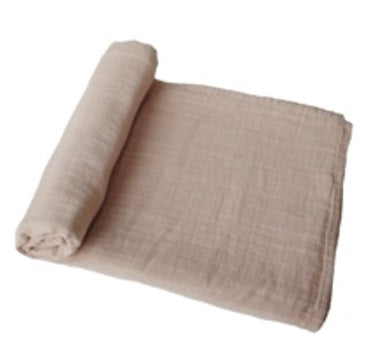 Mushie Swaddle Blanket Organic Cotton  - Pale Taupe - toybox.ae