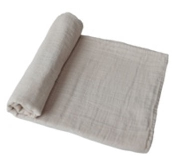 Mushie Swaddle Blanket Organic Cotton - Fog