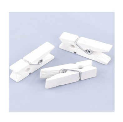 Wooden Pegs / Clips White - toybox.ae
