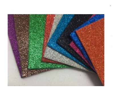 Glitter foam paper stickable -  pack of 10 assorted colours