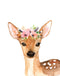 Floral Watercolour Deer Wall Art Print - toybox.ae