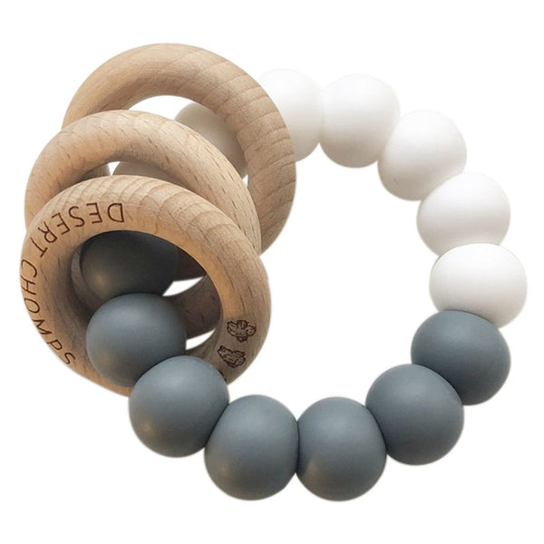 Desert Chomps Trio Rattle Teether - Grey