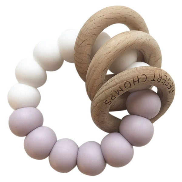 Desert Chomps Trio Rattle Teether - Lilac - toybox.ae