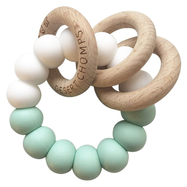 Desert Chomps Trio Rattle Teether - Mint - toybox.ae