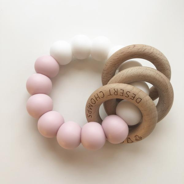 Desert Chomps Trio Rattle Teether - Pink - toybox.ae