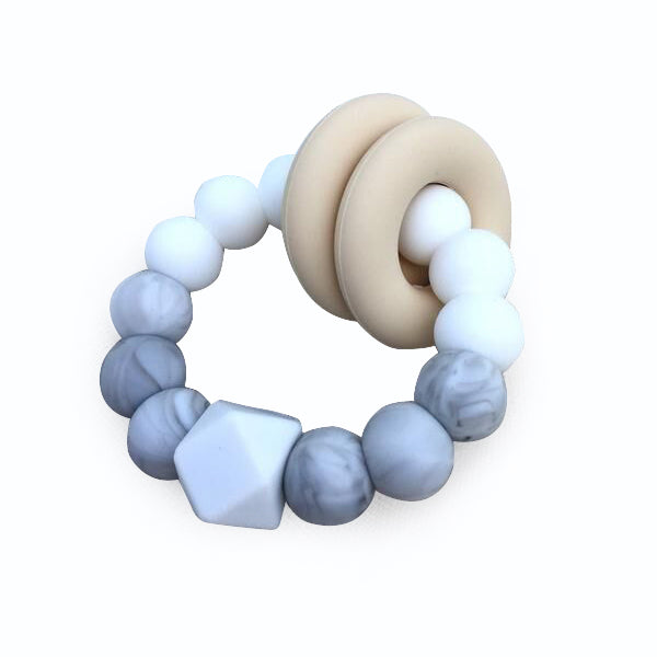 Desert Chomps Vera Hexi - Block Teether - Marble Pearl - toybox.ae