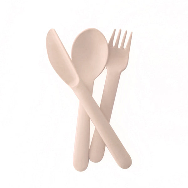 Ekobo Bambino Trio Cutlery Set (fork, spoon, knife) - Blush - toybox.ae