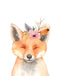 Floral Watercolour Fox Wall Art Print - toybox.ae