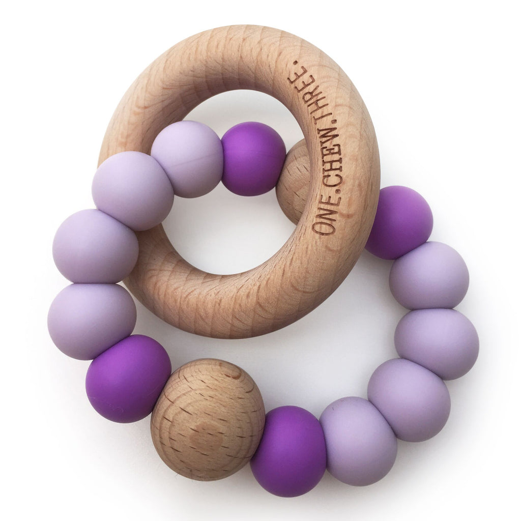 One.Chew.Three - Single Rattle & Beech Wood Teether - Purple Bright - toybox.ae