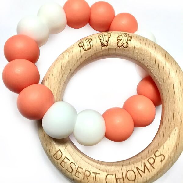 Desert Chomps Lasso Summer Time Teether - Coral & Pearls - toybox.ae