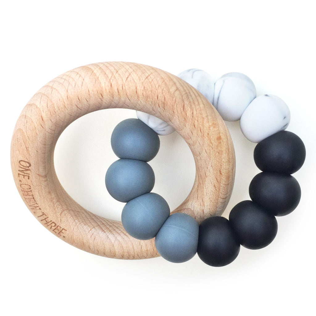 One.Chew.Three - Duo Teether - Mono Ombre - toybox.ae