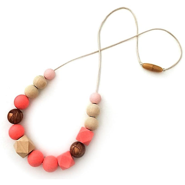 One.Chew.Three - Addison Necklace - Coral - toybox.ae
