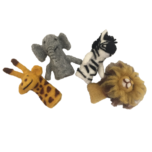 African Animal Finger Puppets/4pc