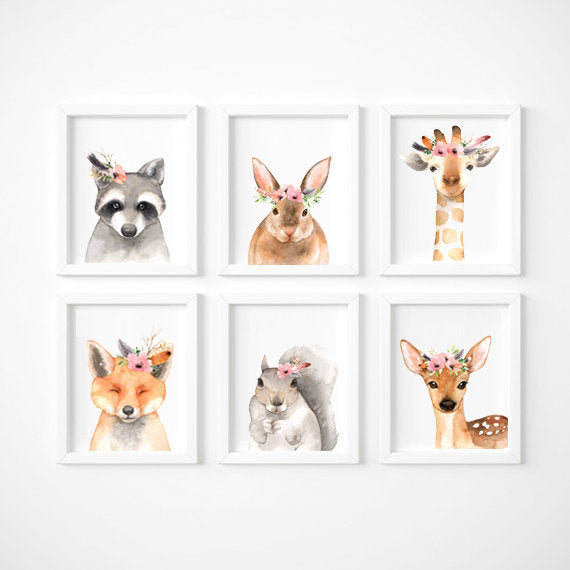 Set of 6 - Watercolour Woodland Animals Wall Art Prints - toybox.ae