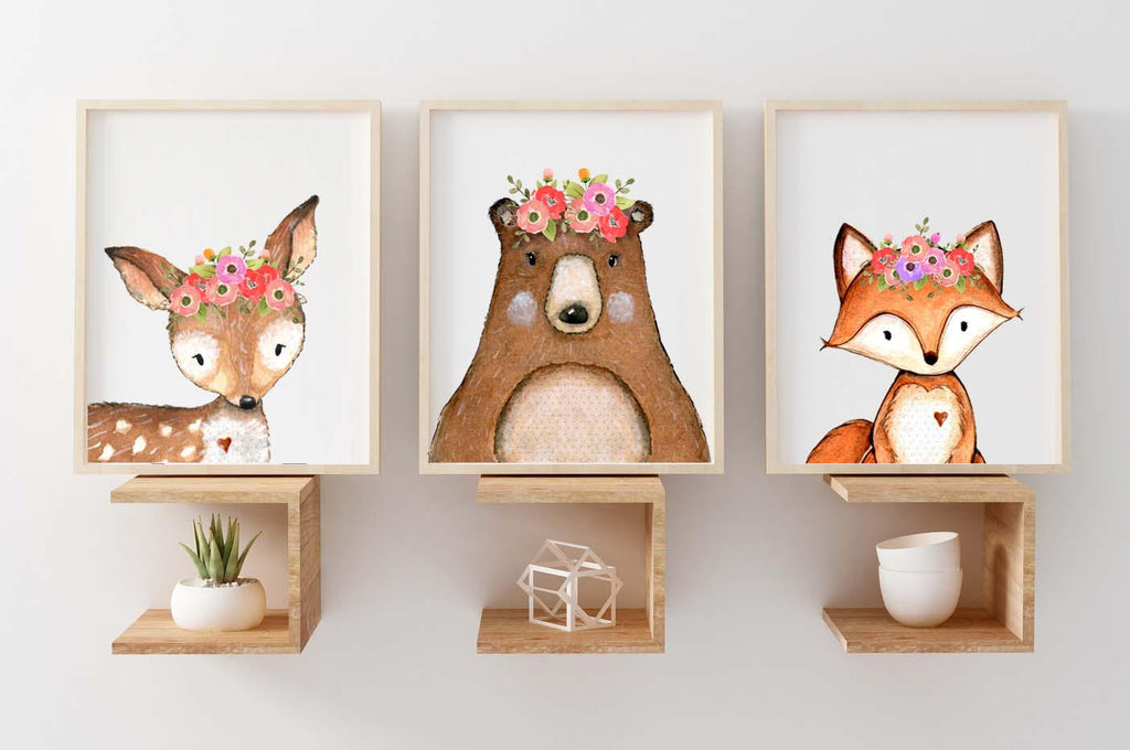 Set of 3 Wall Art Prints - Woodland Watercolour Animals Fox, Deer & Bear - toybox.ae