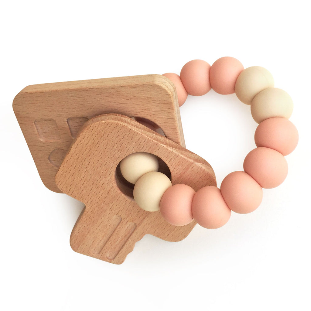 One.Chew.Three - Keys Teether - Peach - toybox.ae