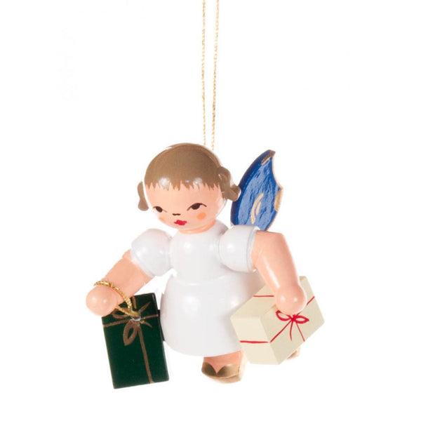 Ornament Angel With Presents, Blue Wings