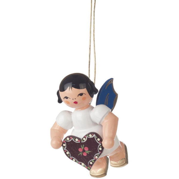 Ornament Angel With Gingerbread Heart, Blue Wings