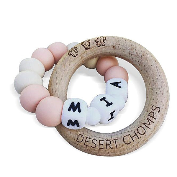 Desert Chomps Personalized Teether - Lasso - Peaches & Cream