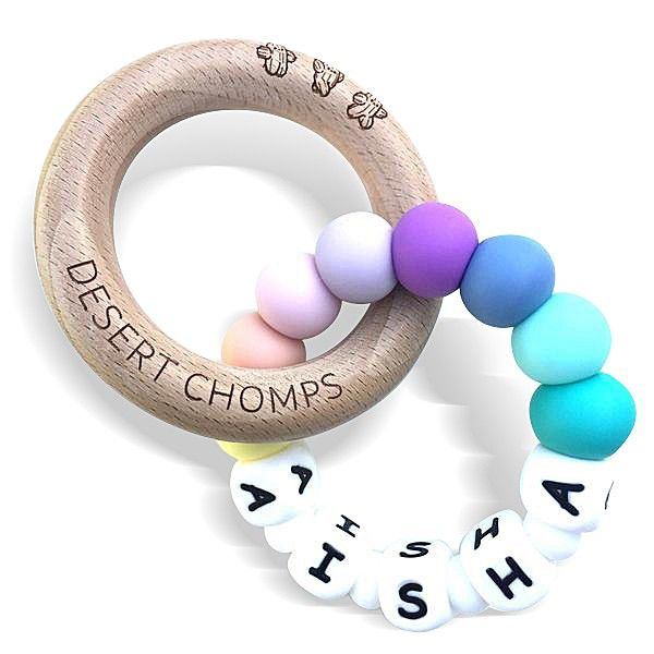 Desert Chomps Personalized Teether - Lasso - Rainbow