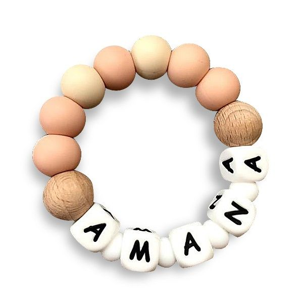 Desert Chomps Personalized Teether - Solo - Peaches & Cream - toybox.ae