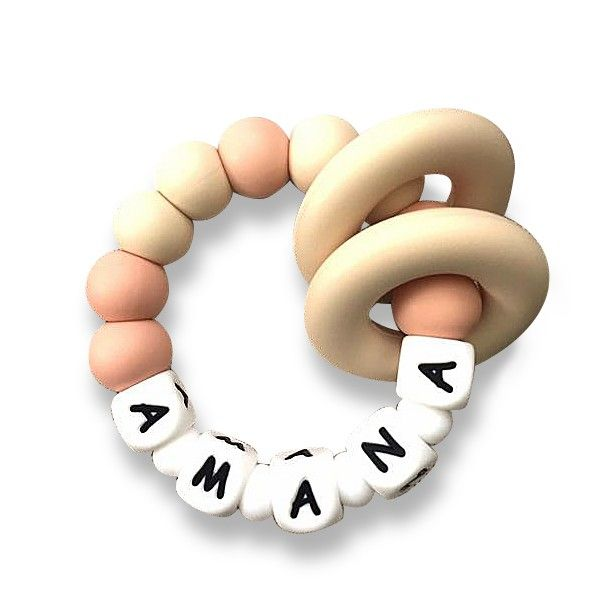 Desert Chomps Personalized Teether - Vera - Peaches & Cream