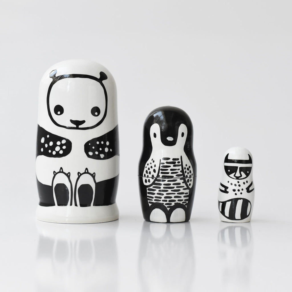 Wee Gallery Set of 3 Nesting Dolls - Black and White Animals - Panda, Penguin, Racoon - toybox.ae