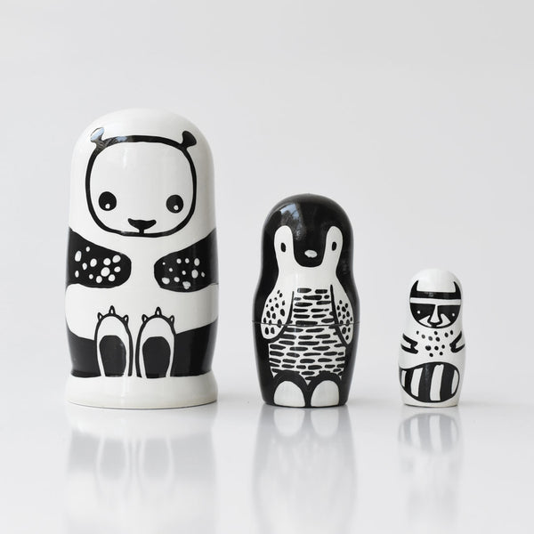Wee Gallery Set of 3 Nesting Dolls - Black and White Animals - Panda, Penguin, Racoon