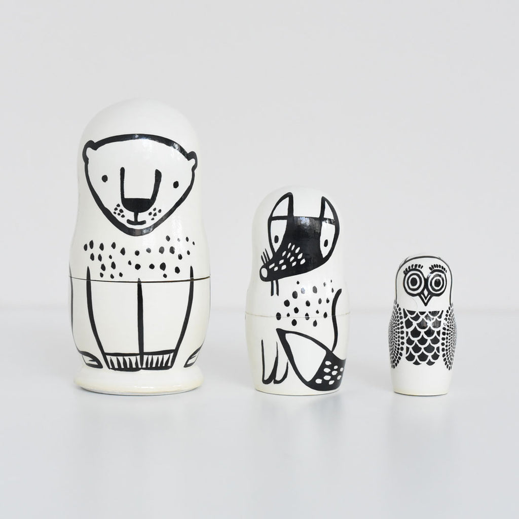 Wee Gallery Set of 3 Nesting Dolls - Forest Friends - Bear, Fox, Owl - toybox.ae