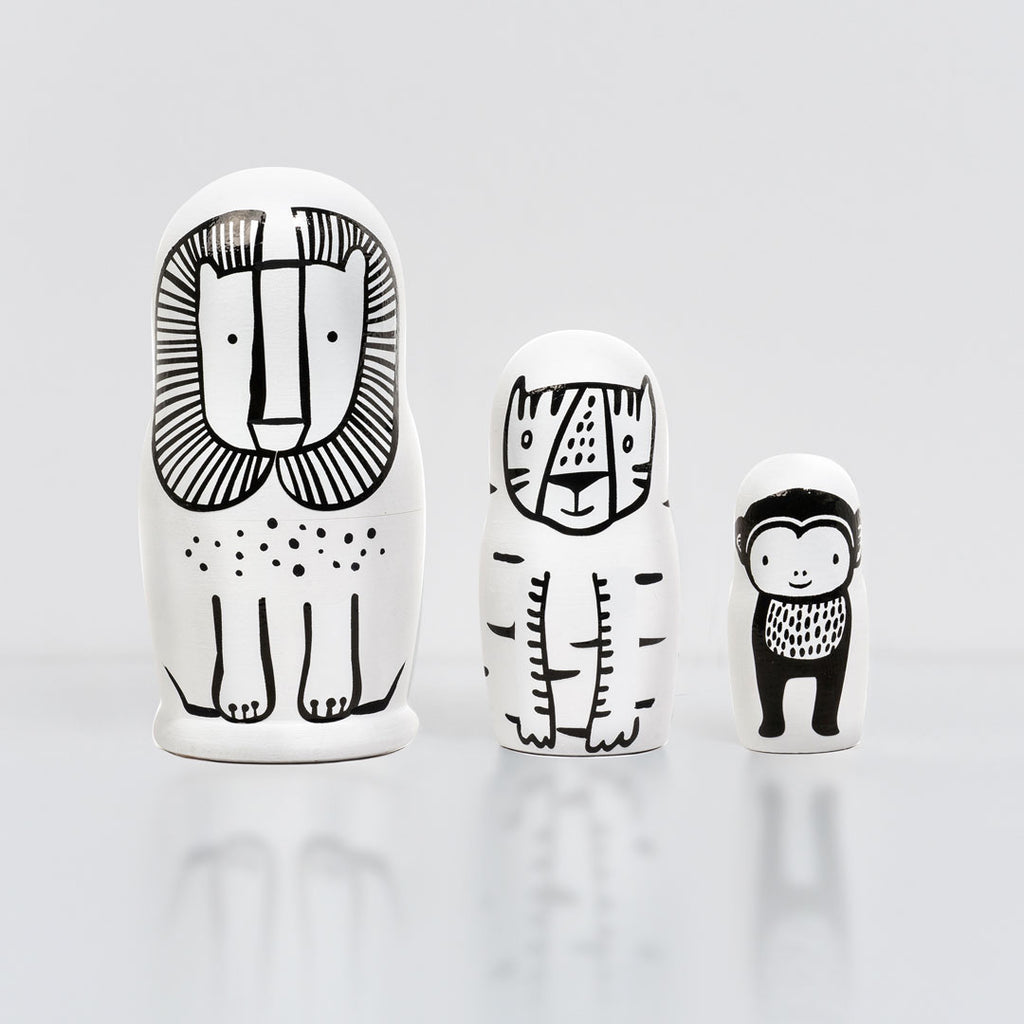 Wee Gallery Set of 3 Nesting Dolls - WILD - Lion, Tiger, Monkey - toybox.ae