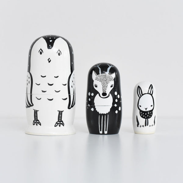 Wee Gallery Set of 3 Nesting Dolls - Woodland Creatures - Owl, Deer, Bunny - toybox.ae