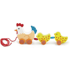 Pull Along Hen w/Two Chicks - toybox.ae