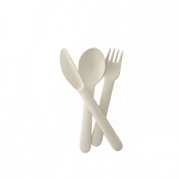 Ekobo Bambino Trio Cutlery Set (fork, spoon, knife) - White - toybox.ae