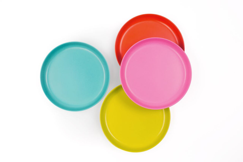 Ekobo Bambino Small Plate Set POP - Lagoon, Lime, Persimmon, Rose - toybox.ae