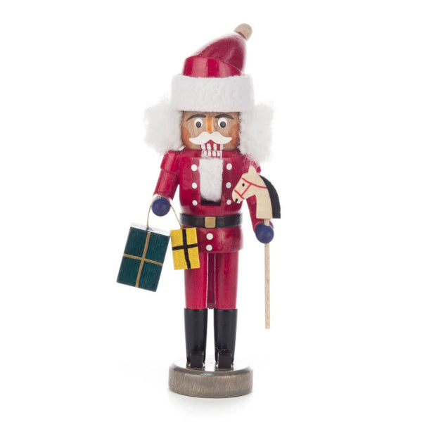 Nutcracker Santa Claus Red, 15cm, with Hobbyhorse and Presents - toybox.ae