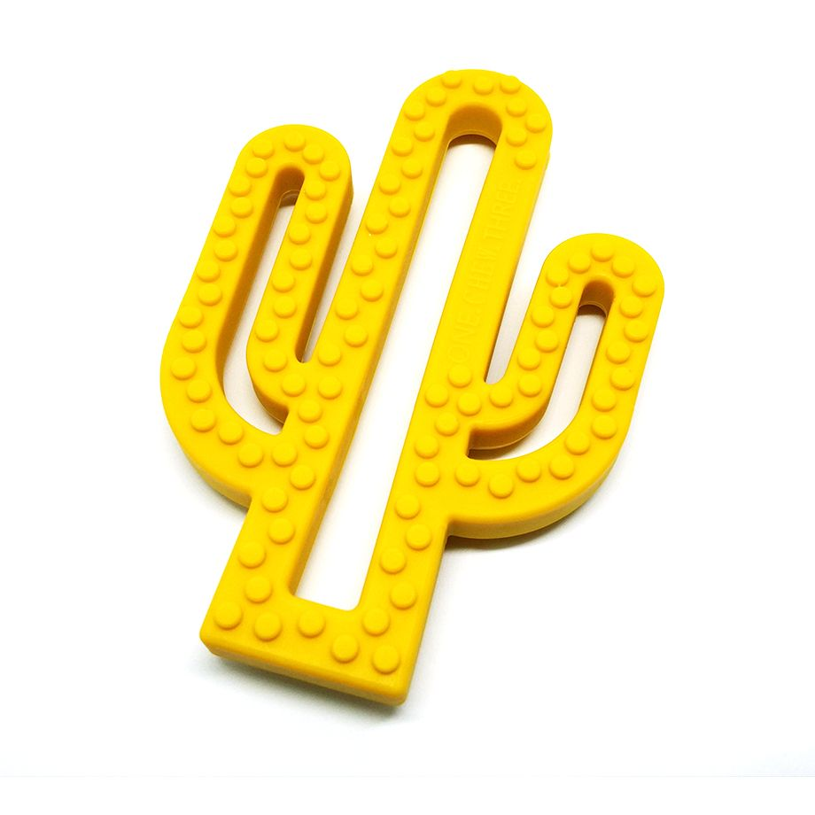 One.Chew.Three - Cactus Teether - Mustard - toybox.ae