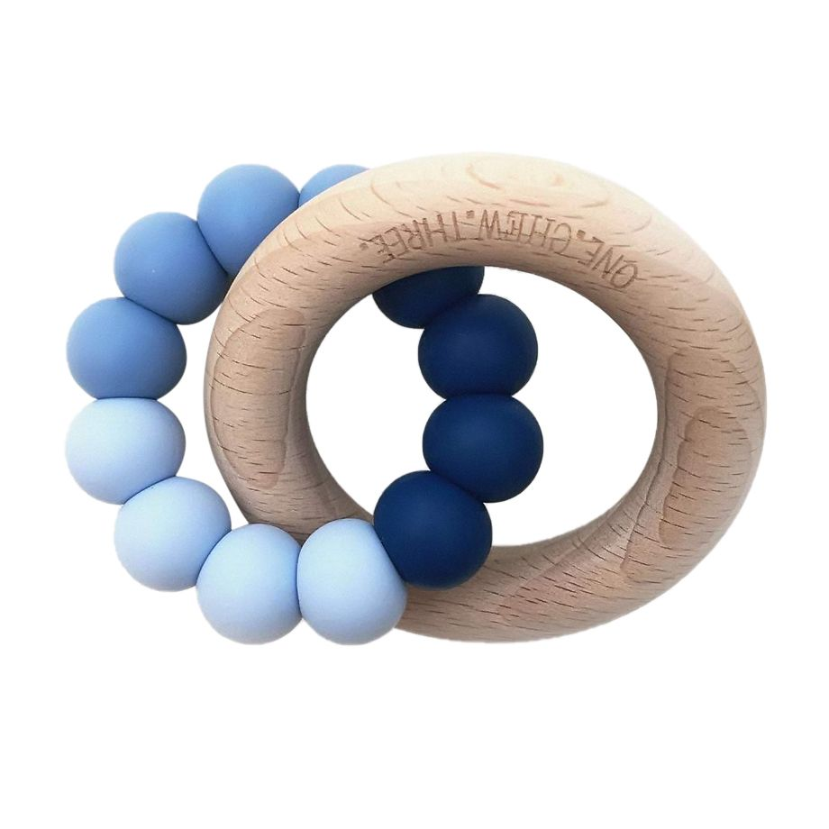 One.Chew.Three - Duo Teether - Blue Ombre - toybox.ae